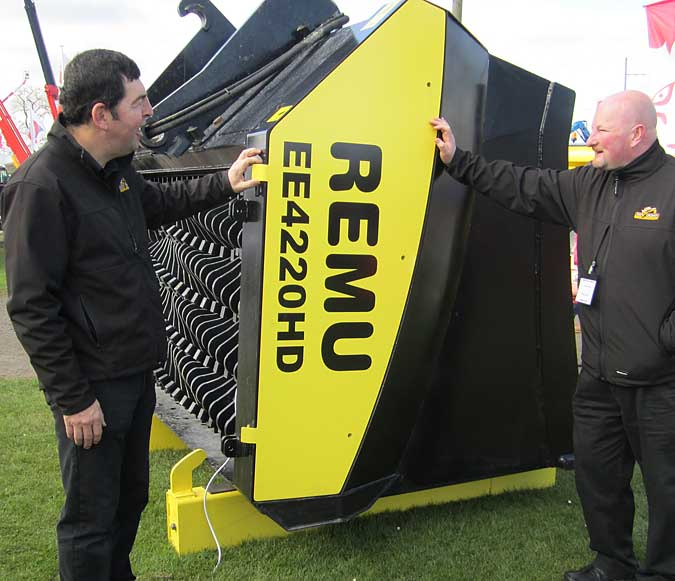 Sean Heron (left) and a visitor run the rule over the new Remu EE4220 which made its UK debut after its launch at Intermat in Paris.
